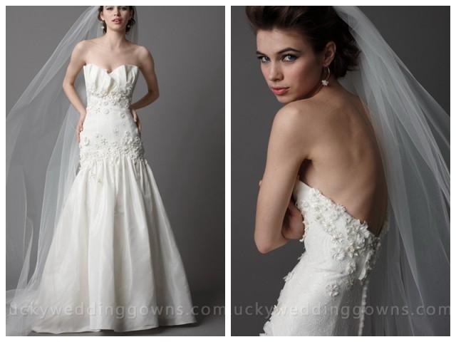 wedding photo - Ivory Taffeta Strapless Wedding Dress With Crumb Catcher Bodice