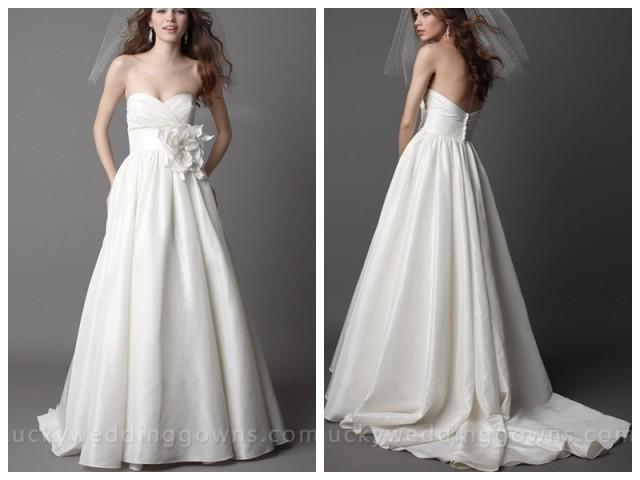wedding photo - Ivory Taffeta Strapless Chapel Train Wedding Dress With Pleated Bodice