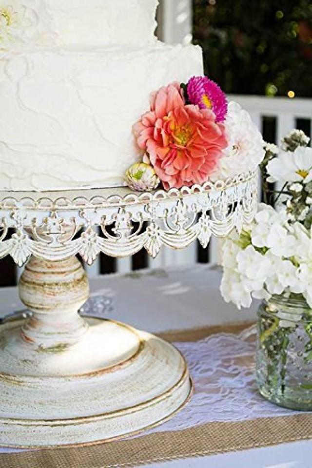 round rustic metal cake stand gorgeous distressed white wedding cake