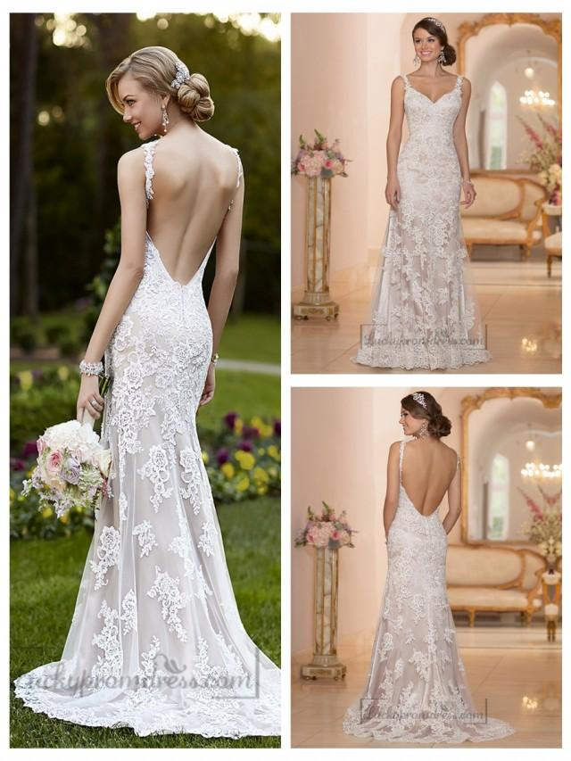 Elegant straps sheath lace over wedding dress with low for Wedding dress undergarments low back