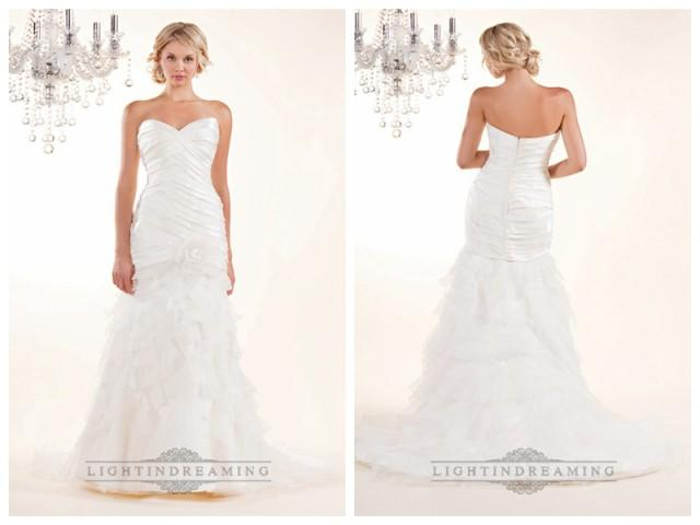 wedding photo - Strapless Sweetheart Wedding Dresses with Pleated Bodice and Layered Skirt