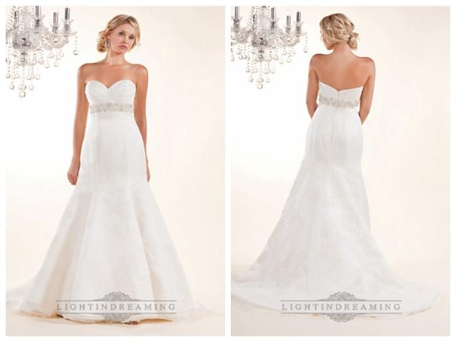 wedding photo - Fit and Flare Cross Sweetheart with Lace Appliques and Beaded Belt