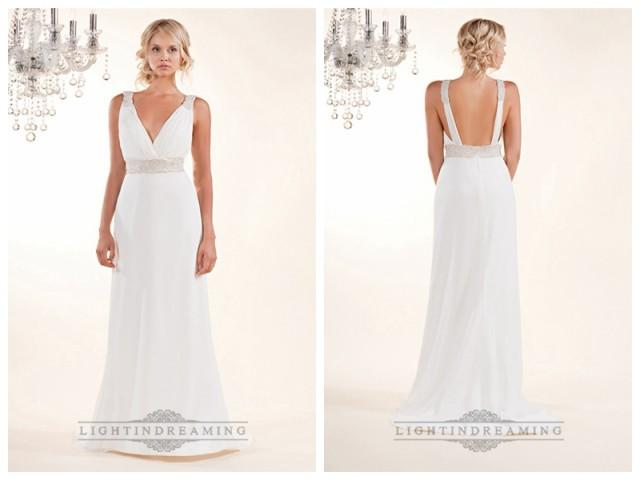 wedding photo - Sheath Plunging V-neck Wedding Dresses with Beaded Straps and Belt