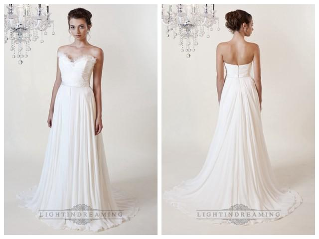 wedding photo - Sheath Ruffled Sweetheart Wedding Dresses with Draped Skirt