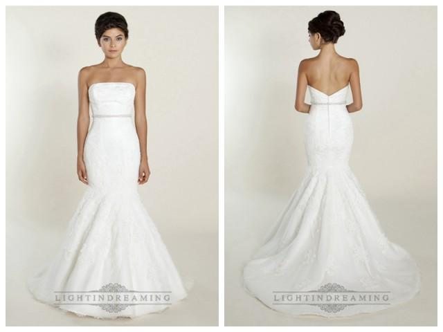 wedding photo - Fit and Flare Strapless Lace Wedding Dresses with Beaded Belt