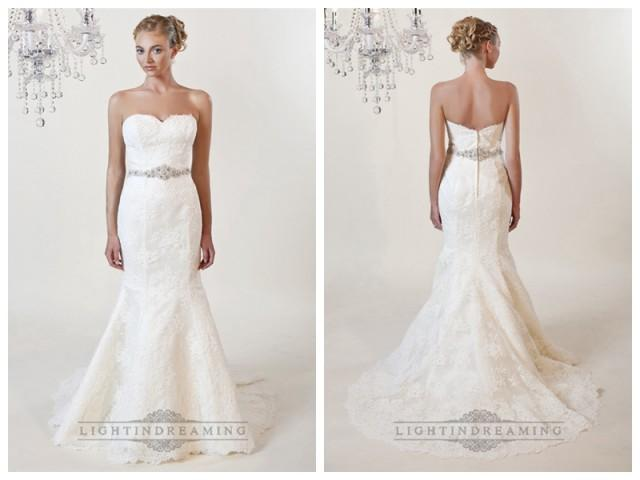 wedding photo - Strapless Mermaid Sweetheart Lace Wedding Dresses with Beaded Belt
