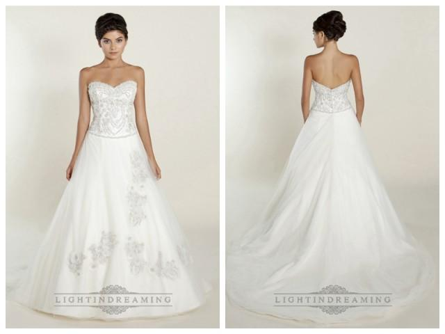 wedding photo - A-line Sweetheart Wedding Dresses with Beaded Bodice