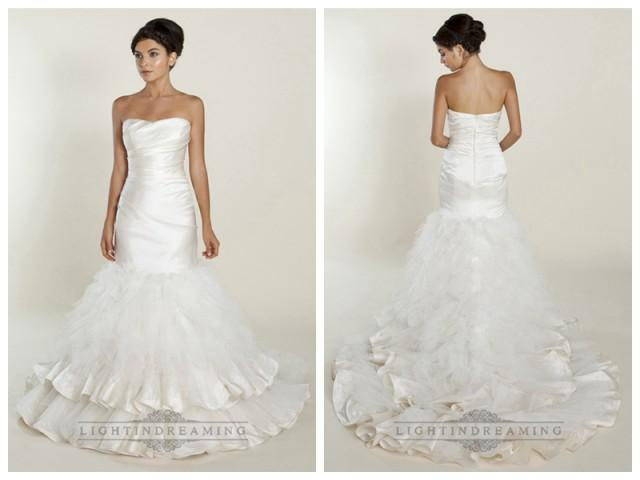 wedding photo - Strapless Mermaid Wedding Dresses with Ruched Bodice and Layered Skirt