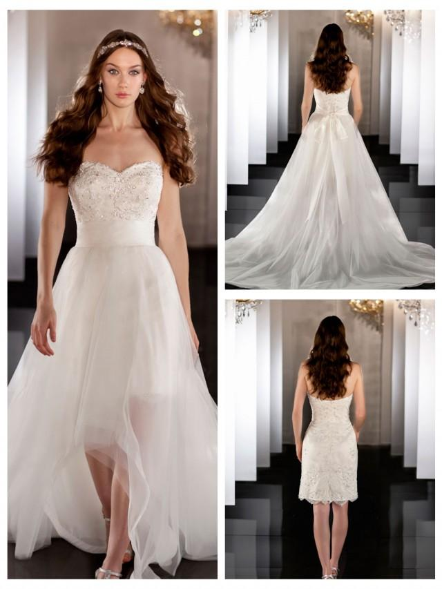 Sweetheart beading coctail length bridal gown with for Removable tulle skirt wedding dress