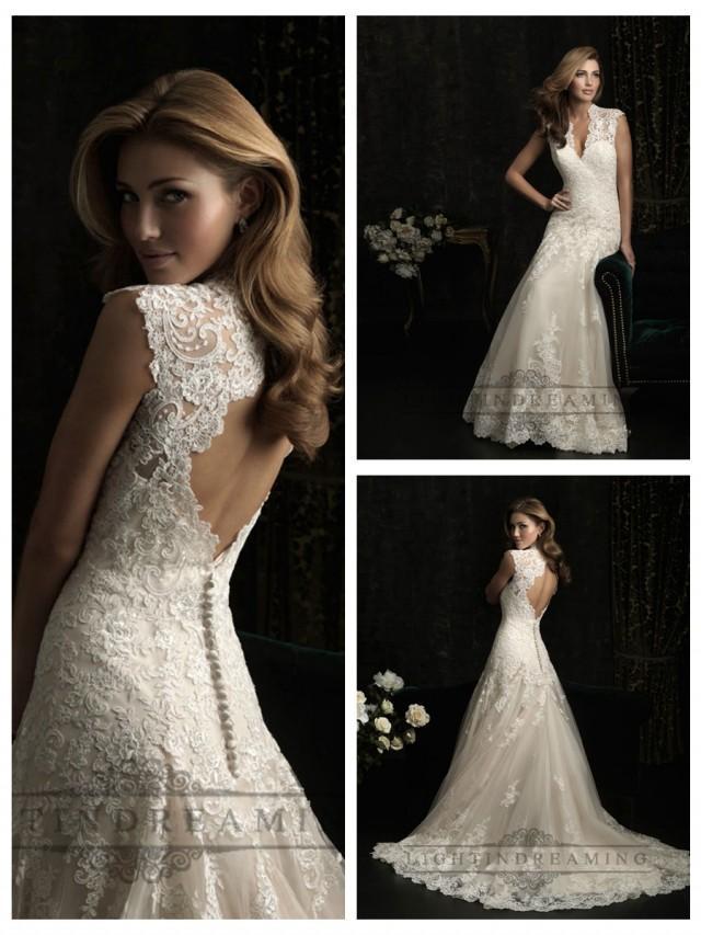 Straps v neck a line wedding dresses with keyhole back for Wedding dresses with keyhole back