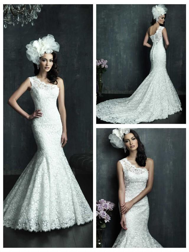 wedding photo - Cap Sleeve One-shoulder Lace Appliques Mermaid Wedding Dress