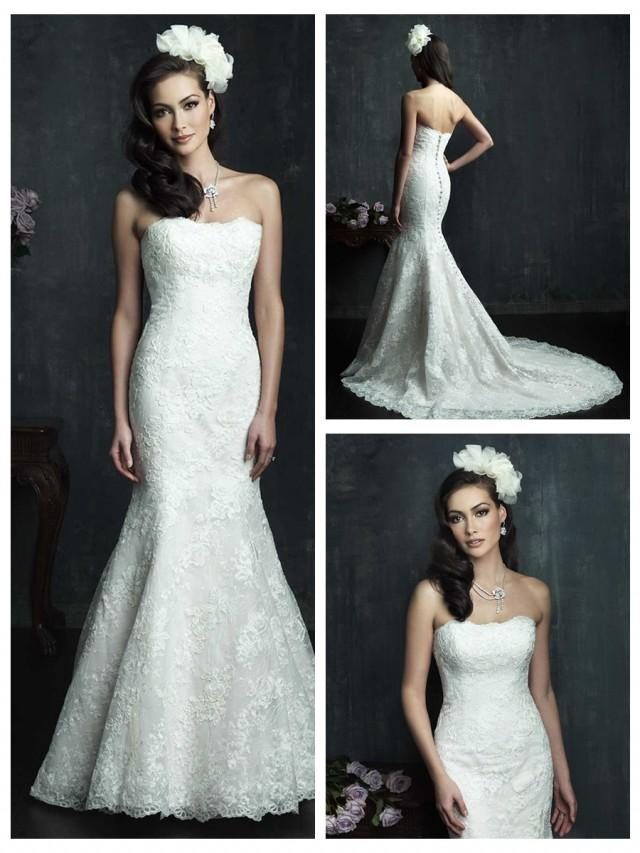 wedding photo - Strapless Slim Line Lace Appliques Mermaid Wedding Dress