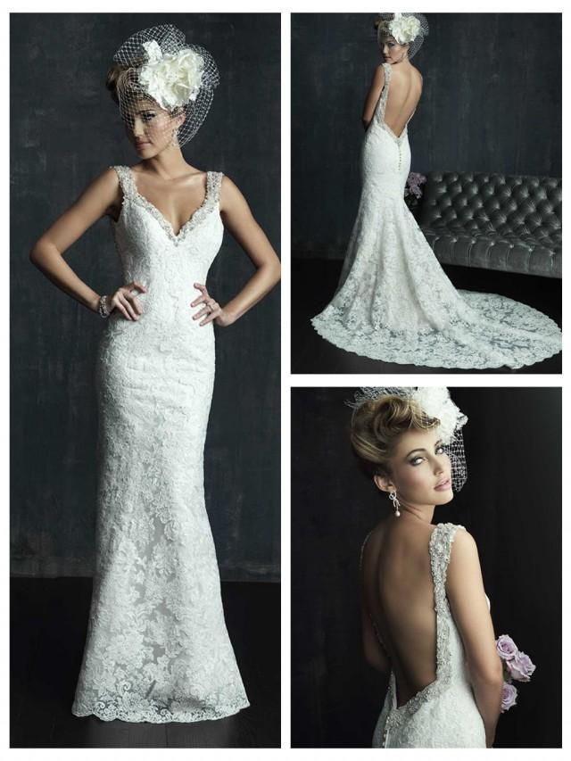 wedding photo - Beaded Straps Plunging Neckline Wedding Dress with Low Back