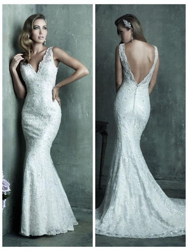 wedding photo - Dreamy Lace Sheath V-neck Wedding Dress with Deep V-back