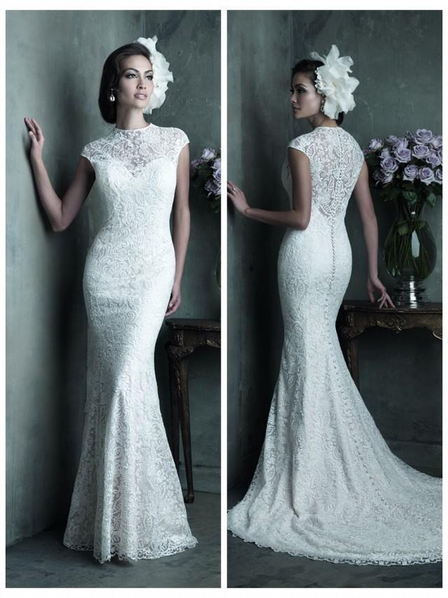 wedding photo - Elegant High Neckline Cap Sleeves Sheath Lace Wedding Dress