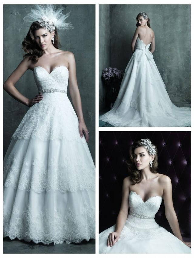 wedding photo - Strapless Sweetheart Lace Layered Ball Gown Wedding Dress