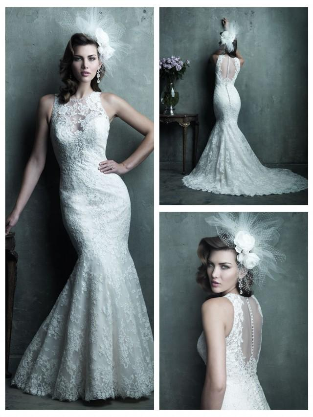 wedding photo - Gorgeous Sheer Illusion Neckline & Back Mermaid Lace Wedding Dress