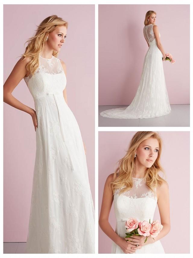 wedding photo - Simple Slim A-line Sheer Illusion Neckline Wedding Dress