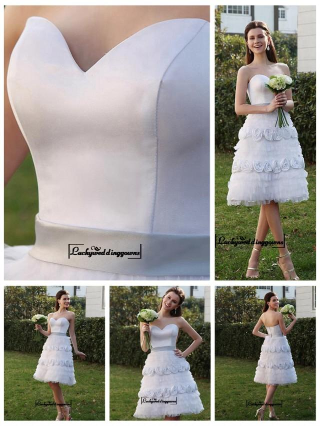 wedding photo - Alluring Satin&Tulle A-line Sweetheart Neckline Knee Length Wedding Dress