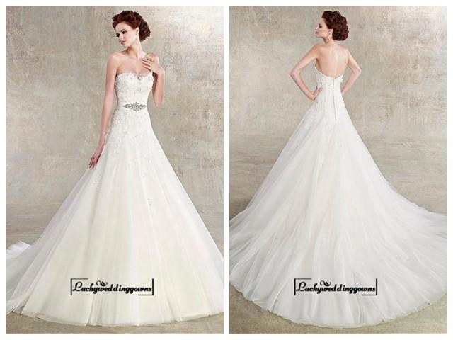 wedding photo - Alluring Satin&Tulle A-line Sweetheart Neckline Natural Waistline Wedding Dress