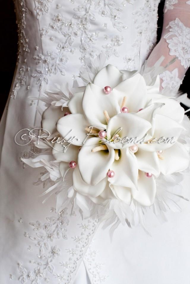 Bridal Bouquet Materials : Silk flowers white wedding bouquet quot heart of angel fabric calla lilies bridal