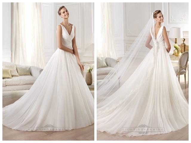 wedding photo - Gorgeous V-neck And V-back Draped Ball Gown Wedding Dresses