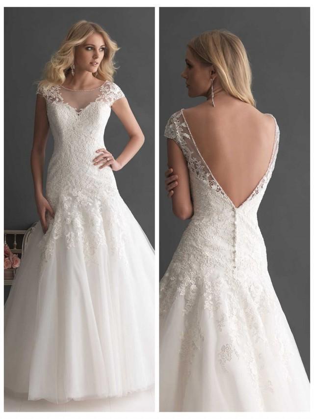 Elegant a line cap sleeves bateau neckline wedding dress for Deep v back wedding dress
