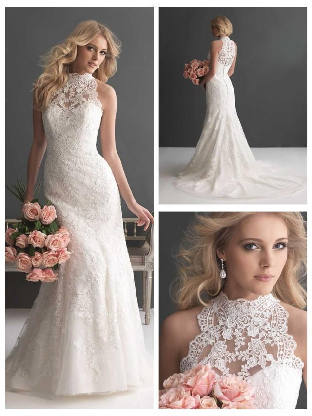 wedding photo - Sheer High Neckline Lace Sheath Wedding Dress