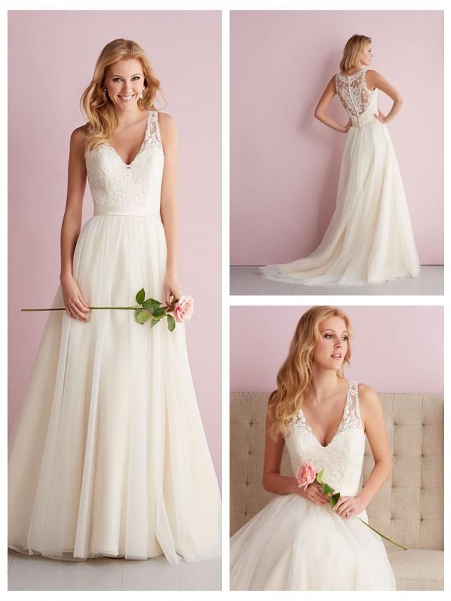 wedding photo - Straps A-line V-neck Wedding Dress with Illusion Back