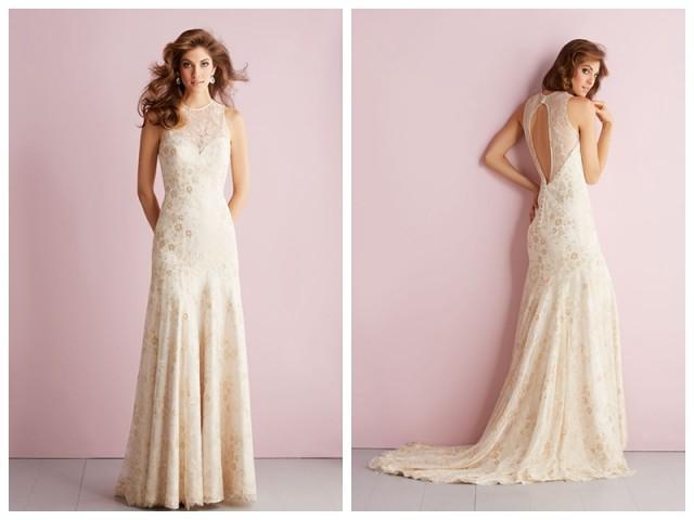 wedding photo - Sheer High Neckline Sheath Column Lace Appliques Keyhole Back Wedding Dress