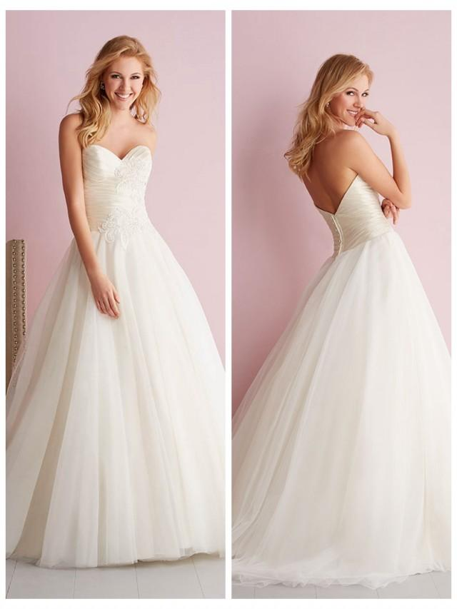 wedding photo - Strapless Sweetheart Ruched Bodice Embroidered Ball Gown Wedding Dress