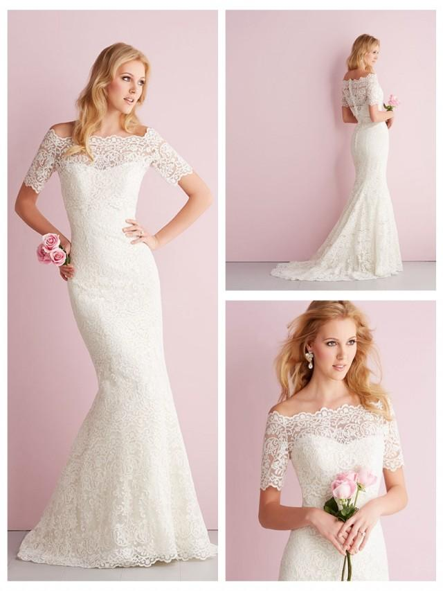 wedding photo - Elegant Off-the-shoulder Short Sleeves Mermaid Lace Wedding Dress