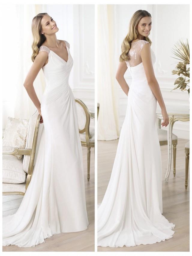 Elegant V Neck Draped Wedding Dress With Semi Sheer Back Flared Skirt 245430