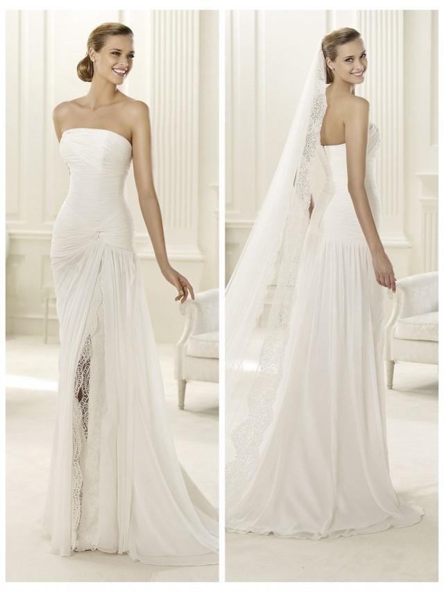 wedding photo - 2014 Charming Flattered Strapless Draped Wedding Dress with Split Skirt