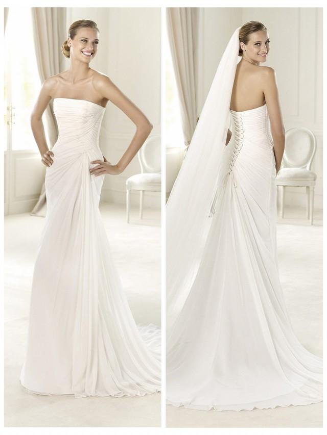 wedding photo - Exquisite Strapless Draped Wedding Dress with Flattering Lace-up Back