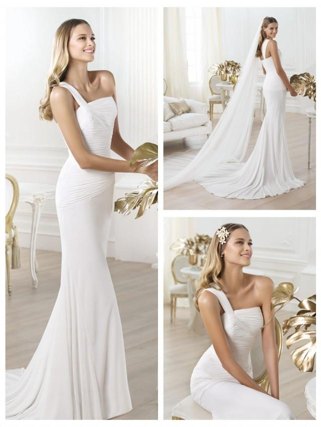 wedding photo - One-shoulder Asymmetric Draped Bodice Wedding Dress with Flared Skirt