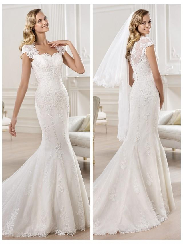 wedding photo - Cap Sleeves Straight Straps Neckline Mermaid Wedding Dress Featuring Applique Crystal
