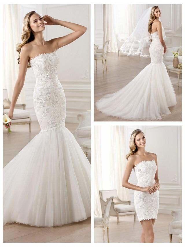 wedding photo - Strapless Mermaid Wedding Dress Featuring Applique Crystal