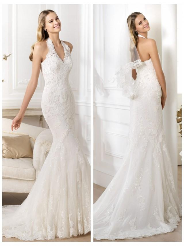 wedding photo - Exquisite Halter Neck Mermaid Wedding Dress Featuring Applique