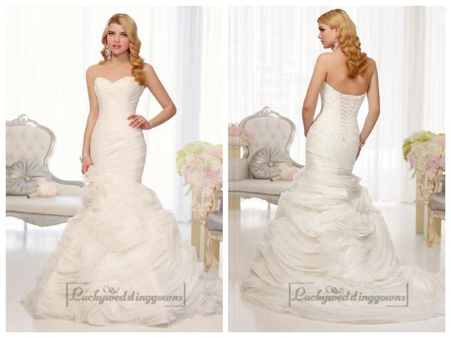 wedding photo - Organza Sweetheart Trumpet Wedding Dresses with Pleated Bodice and Layers Skirt