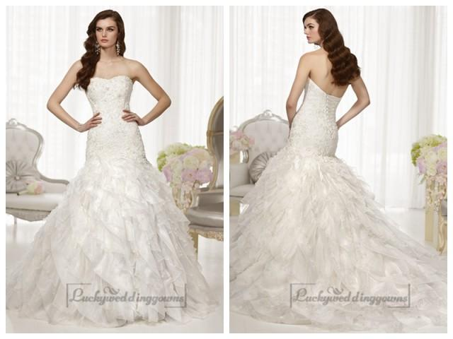 wedding photo - Fit and Flare Semi Sweetheart Neckline Wedding Dresses with Pleated Skirt