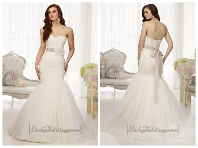 wedding photo - Fit and Flare Sweetheart Ruched Bodice Wedding Dresses with Detachable Beading Belt