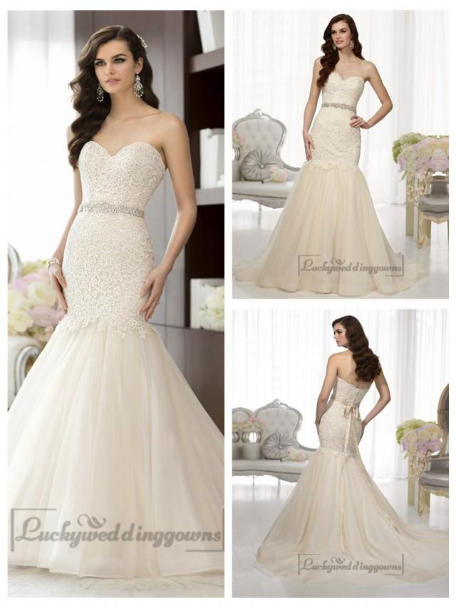wedding photo - Elegant Sweetheart A-line Lace Vintage Wedding Dresses with Beading Sash