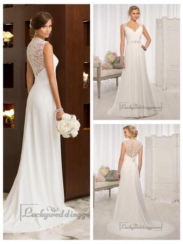 wedding photo - Elegant Cap Sleeves Chiffon Sheath Simple Wedding Dresses with Illusion Back