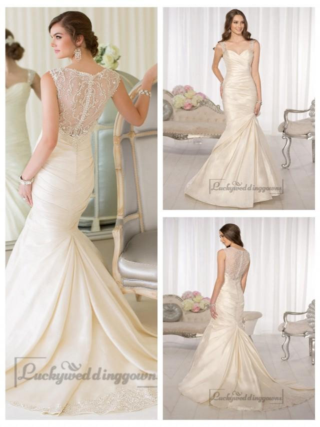 wedding photo - Luxury Beaded Straps Fit and Flare Sweetheart Wedding Dresses with Illusion Back