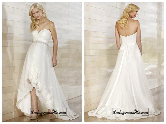 wedding photo - Gorgeous Slim High-low Sweetheart Ruched Bodice Wedding Dresses