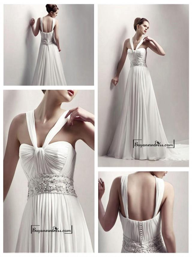 wedding photo - Adorable Halter Beading A-line Chiffon Wedding Dress