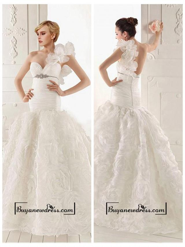 wedding photo - Amazing Organza Mermaid One Shoulder Neckline Empire Waist Ruffled Wedding Gown With Beadings