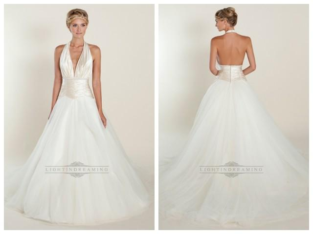 wedding photo - A-line Plunging Halter Ball Gown Wedding Dresses with Ruched Bodice