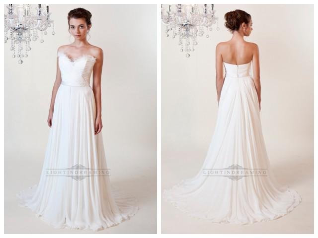 wedding photo - Sheath Ruffled Sweetheart Wedding Dresses with Draped Skirt